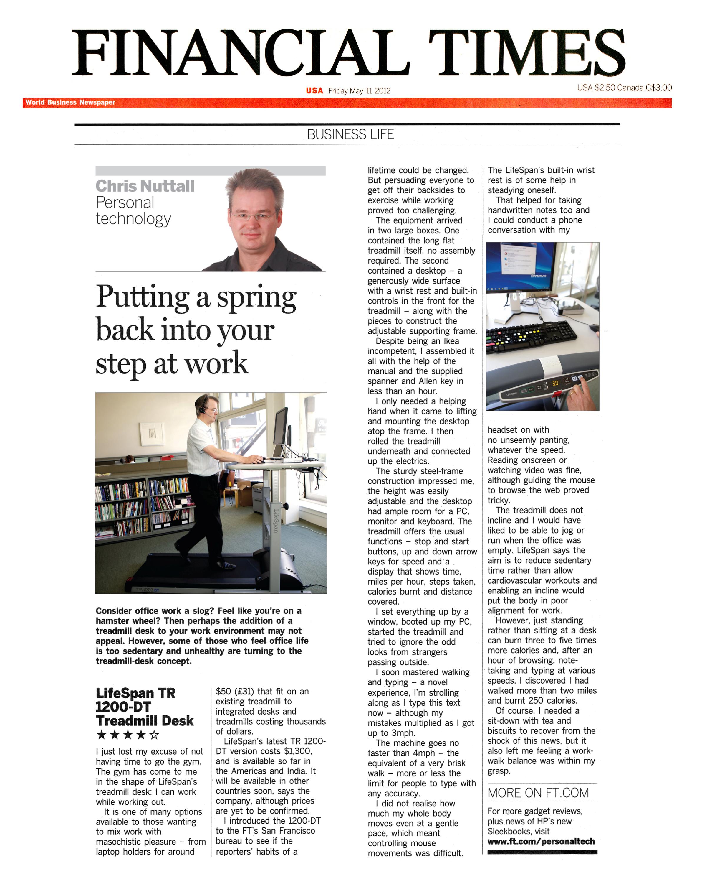 Financial Times_LifeSpan Treadmill Desk