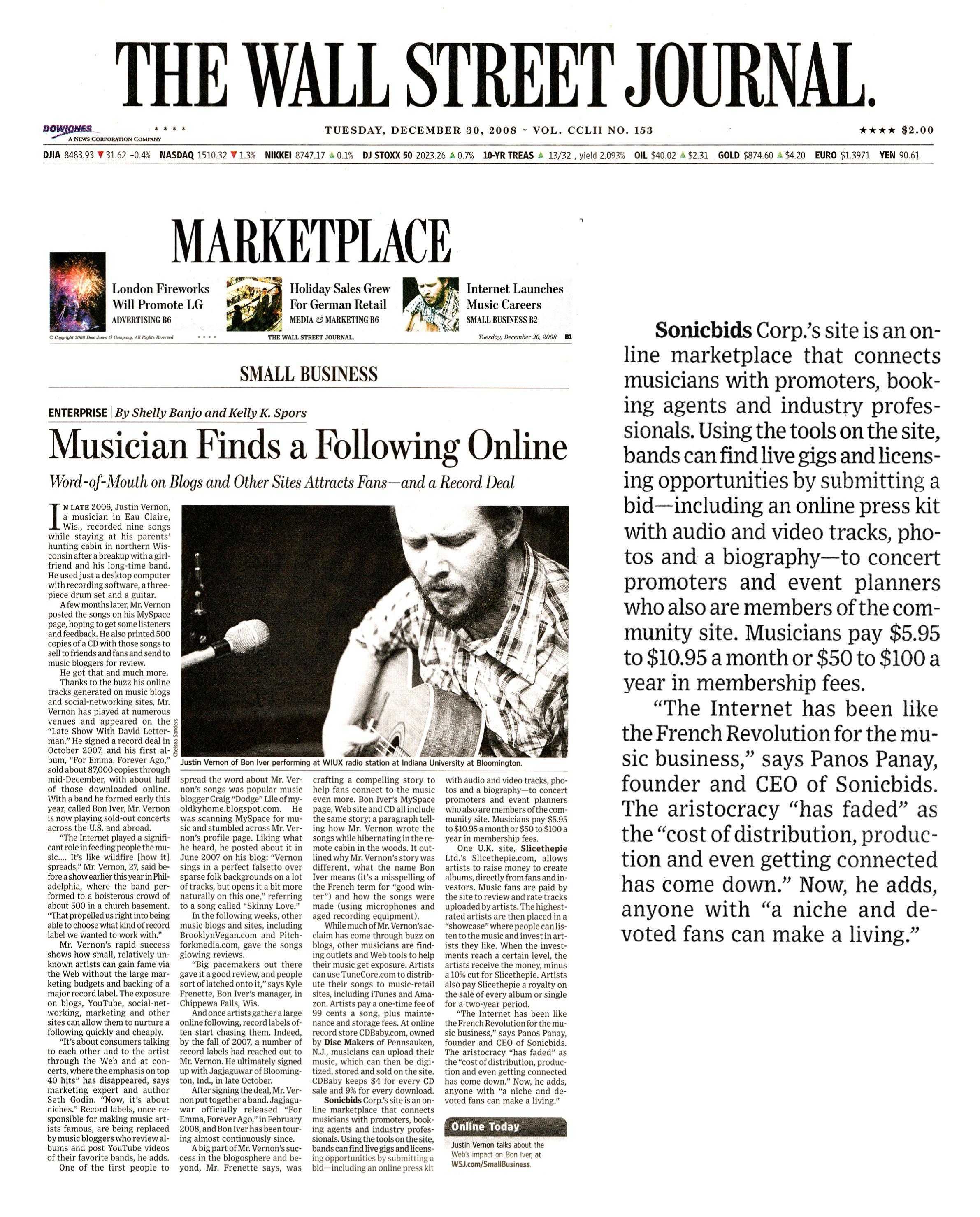 Wall Street Journal_Sonicbids