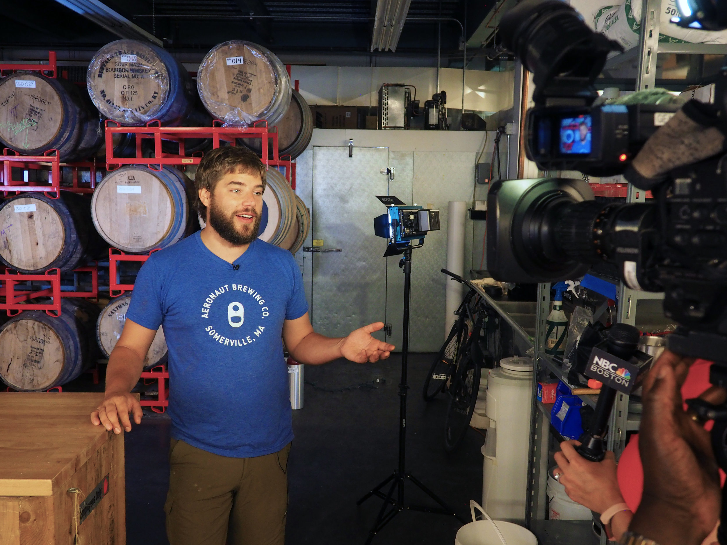 Managing an interview at Aeronaut Brewing Co._photo by Kate Weiser