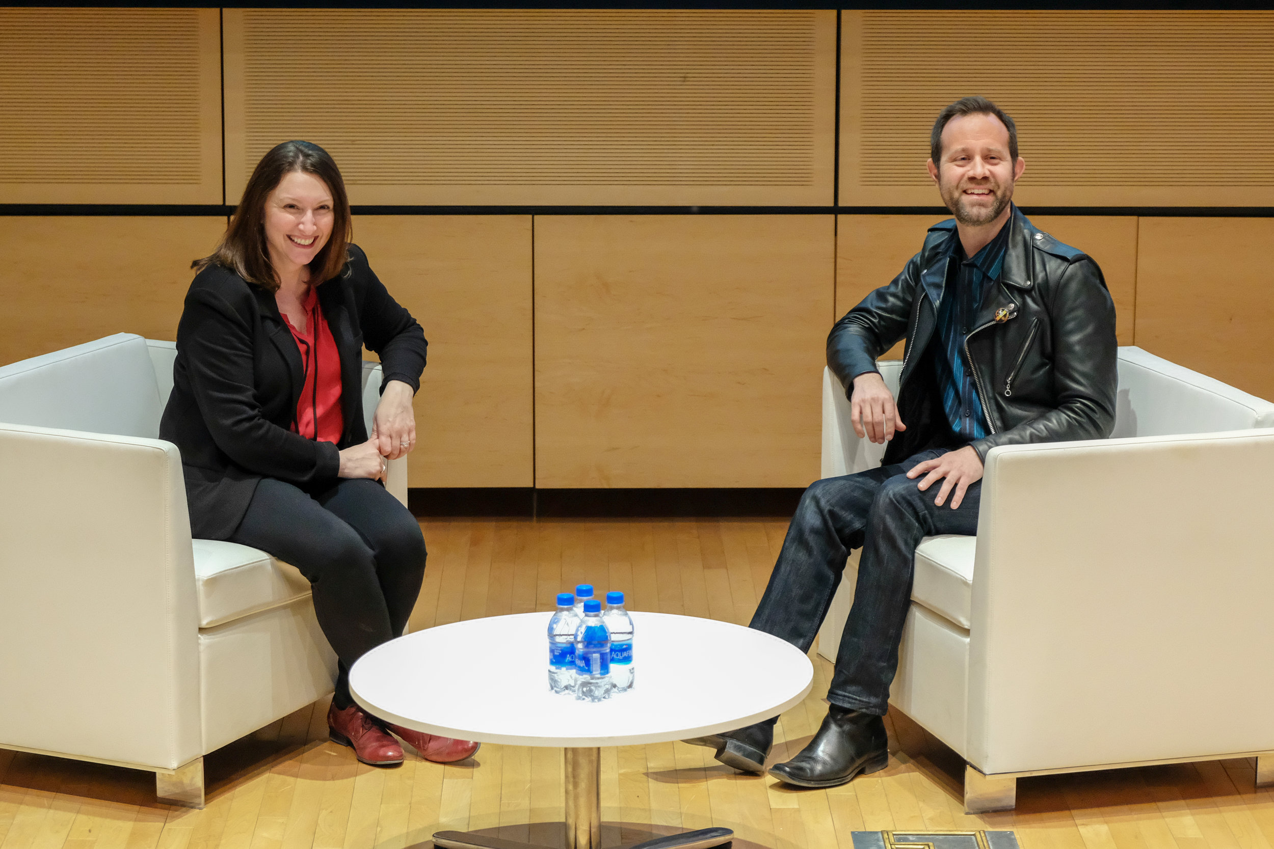 At Syracuse University in the Newhouse School's Herg Auditorium with Gina Luttrell, photo by Adam Ontiveros-Oberg
