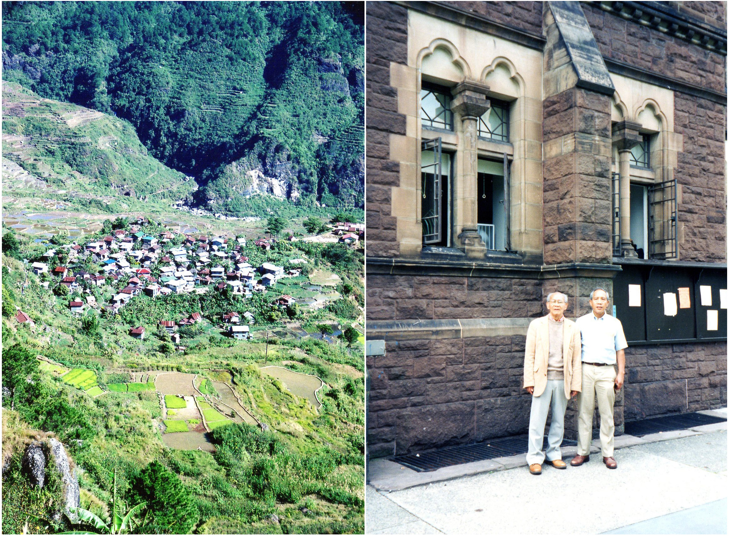 LEFT Photo: Fedilisan Village viewed from cliff above, at the north end of the Fedilisan-Tanulong Valley 2010 | RIGHT Photo: Paul C. Laus and Albert S. Bacdayan revisiting Trinity College, Hartford, CT, their  alma mater, 1998.