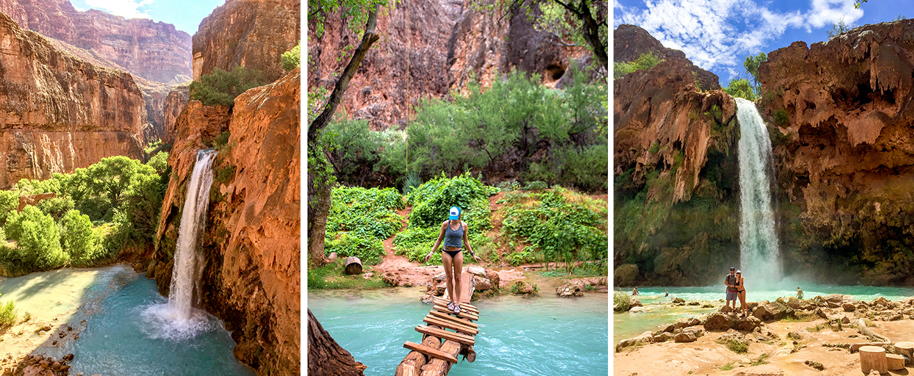 From left to right: My very first view of Havasu Falls. Creek crossing. At the base of Havasu Falls on our first day (the only day with sun!)