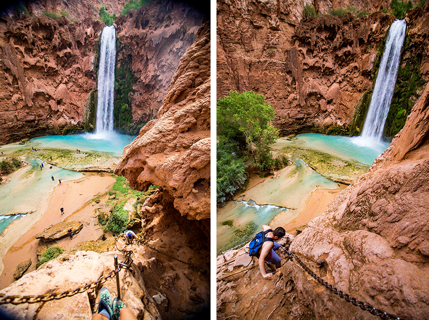First views, and the descent to the base of Mooney Falls.