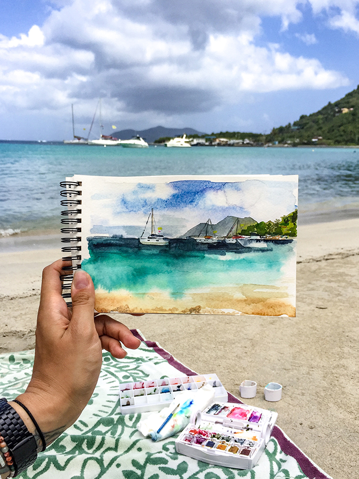 Painting in Tortola, I had to bring a few extra paints with me on this trip because I wanted to get the turquoise water right.