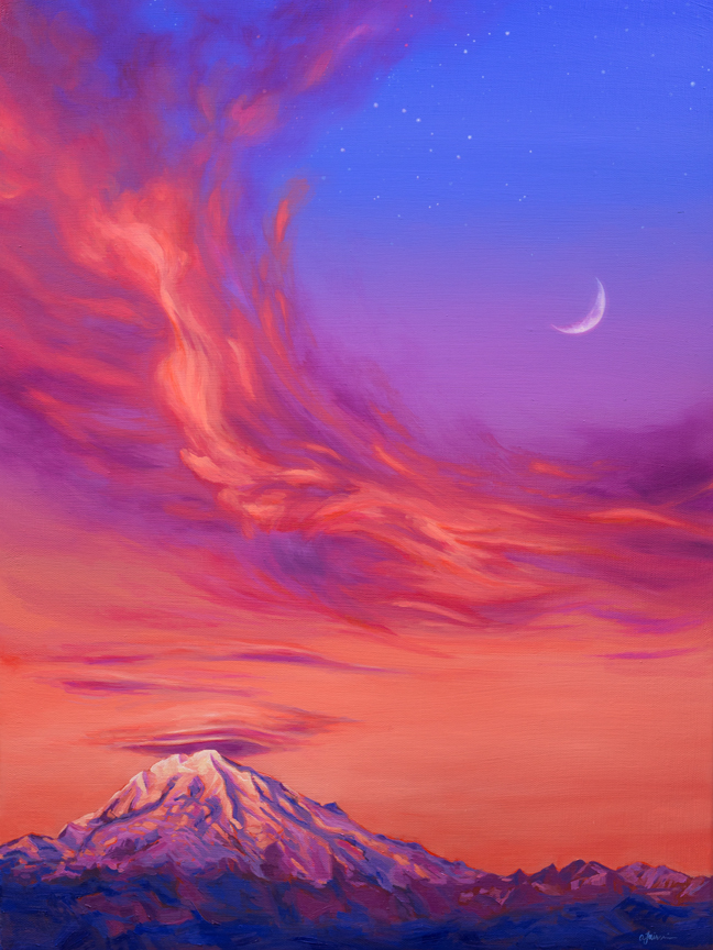 """Lenticular Clouds Over Mount Rainier at Dusk"" Reproductions starting at $3.20"