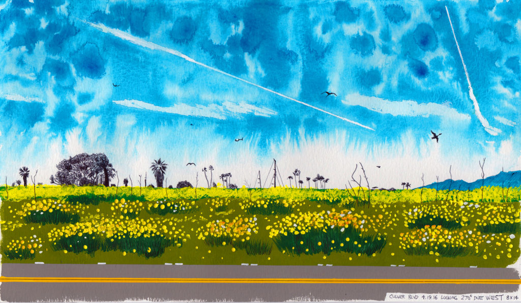 Culver Blvd. 4.19.16 Looking 270 Degrees Due West_2016_Ink and gouache_8''x14''.jpg