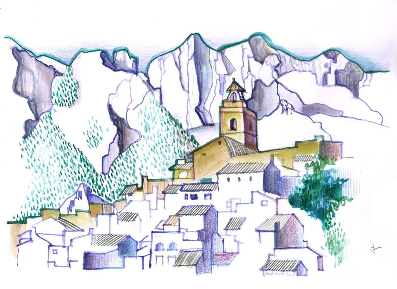 Polop In The Valley Of Guadalest - 8'' x 10'' - Watercolor on paper