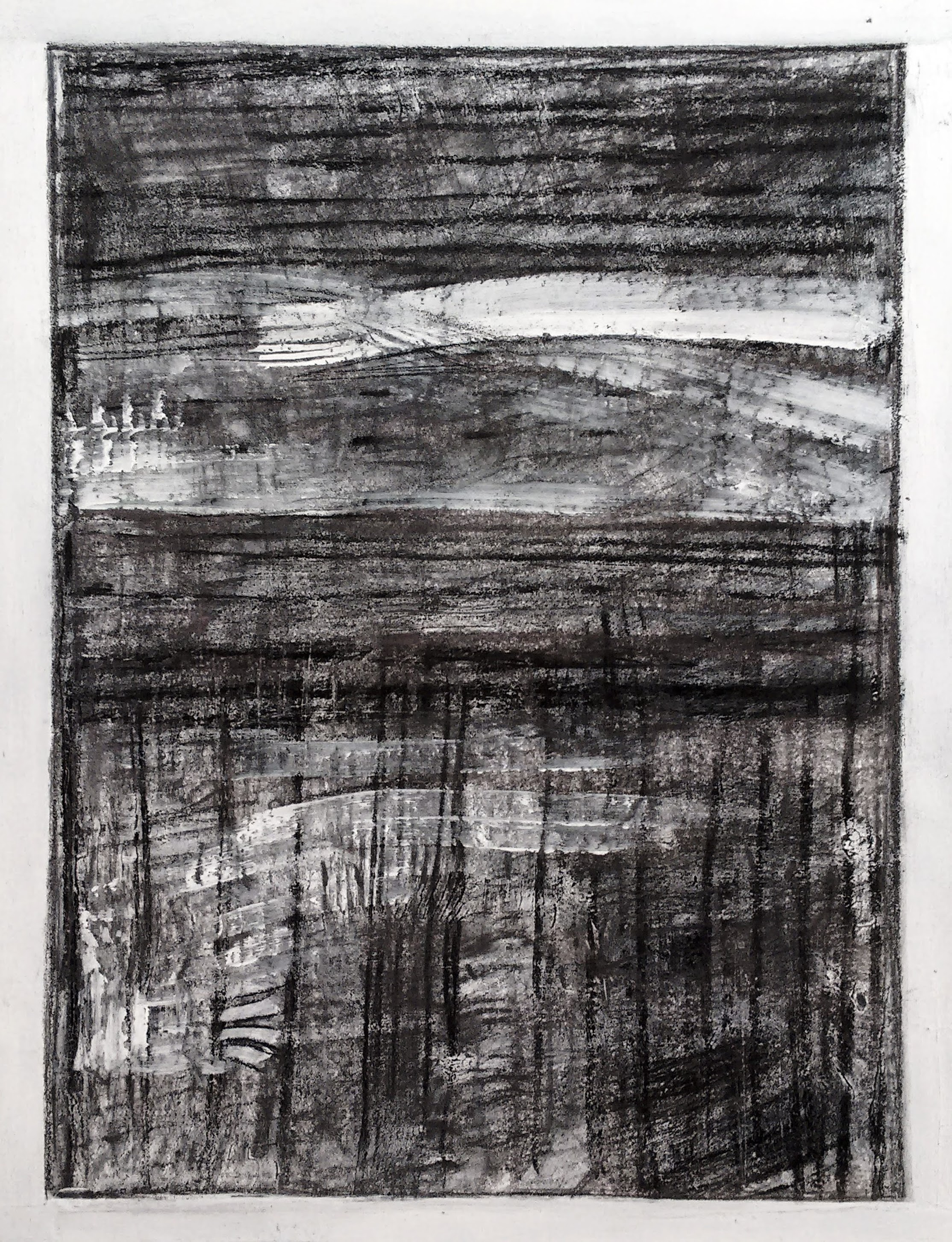 NY Sea #2 - Charcoal on Paper - 16'' x 20''