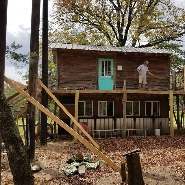 The beginning of a new project. Dining hall seating area added onto the Tree House kitchen. Our Director has it all planned and envisioned in his brilliant mind. Always fun and new exciting things going on out here at Messiah's Ranch #expertcarpenter #treehousemasters