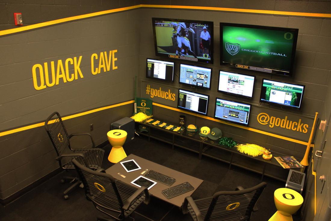 University of Oregon's Quack Cave - responsible for monitoring all social media platforms