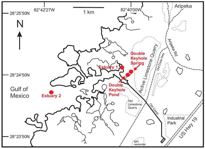 Site Map of the double keyhole Karst estuary
