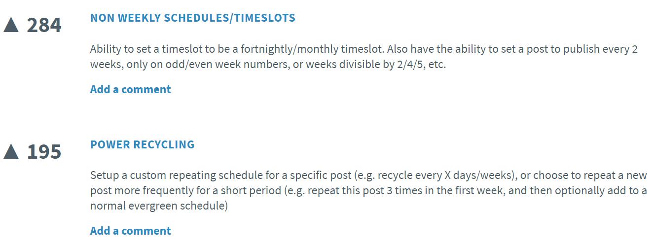 Als je iets mist in SmarterQueue, kun je een Feature Request indienen. Ook kun je Requests van anderen 'upvoten'.