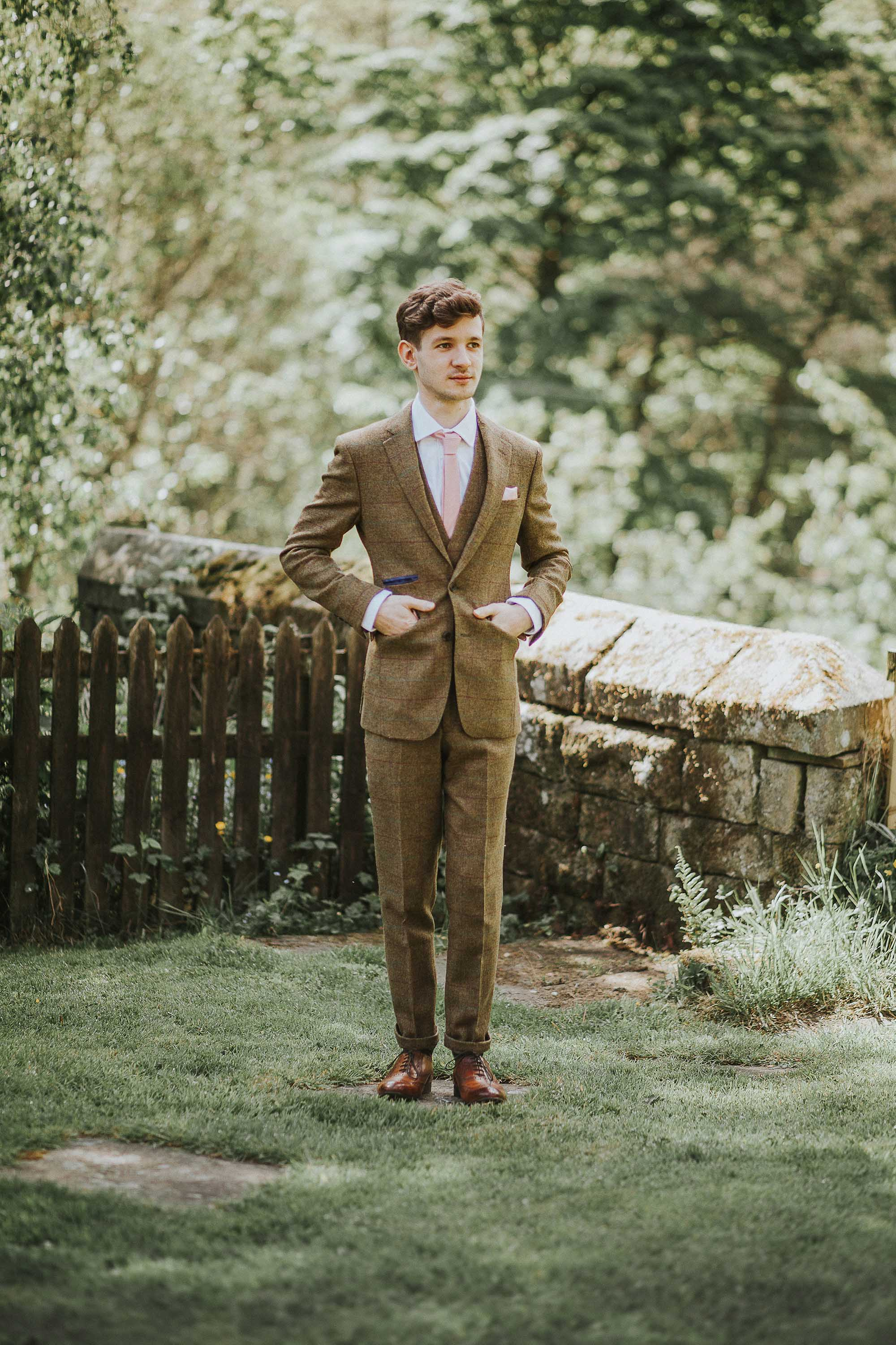 Groom at Gibson Mill in Brook Taverner Suit