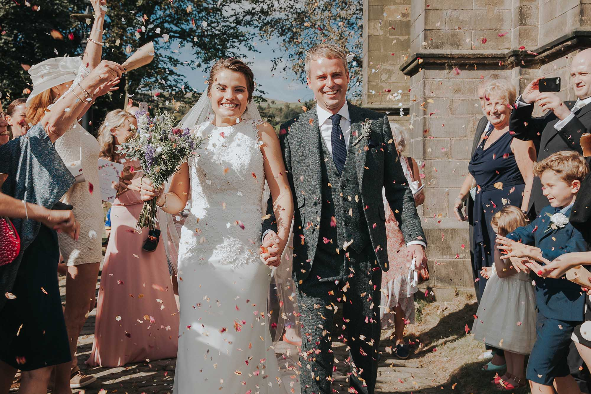 confetti with bride and groom in Ripponden