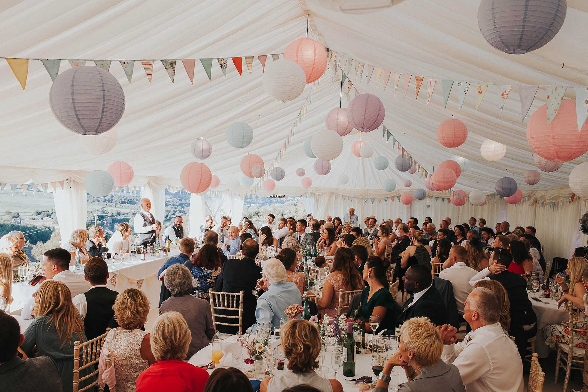 Marquee wedding with paper lanterns