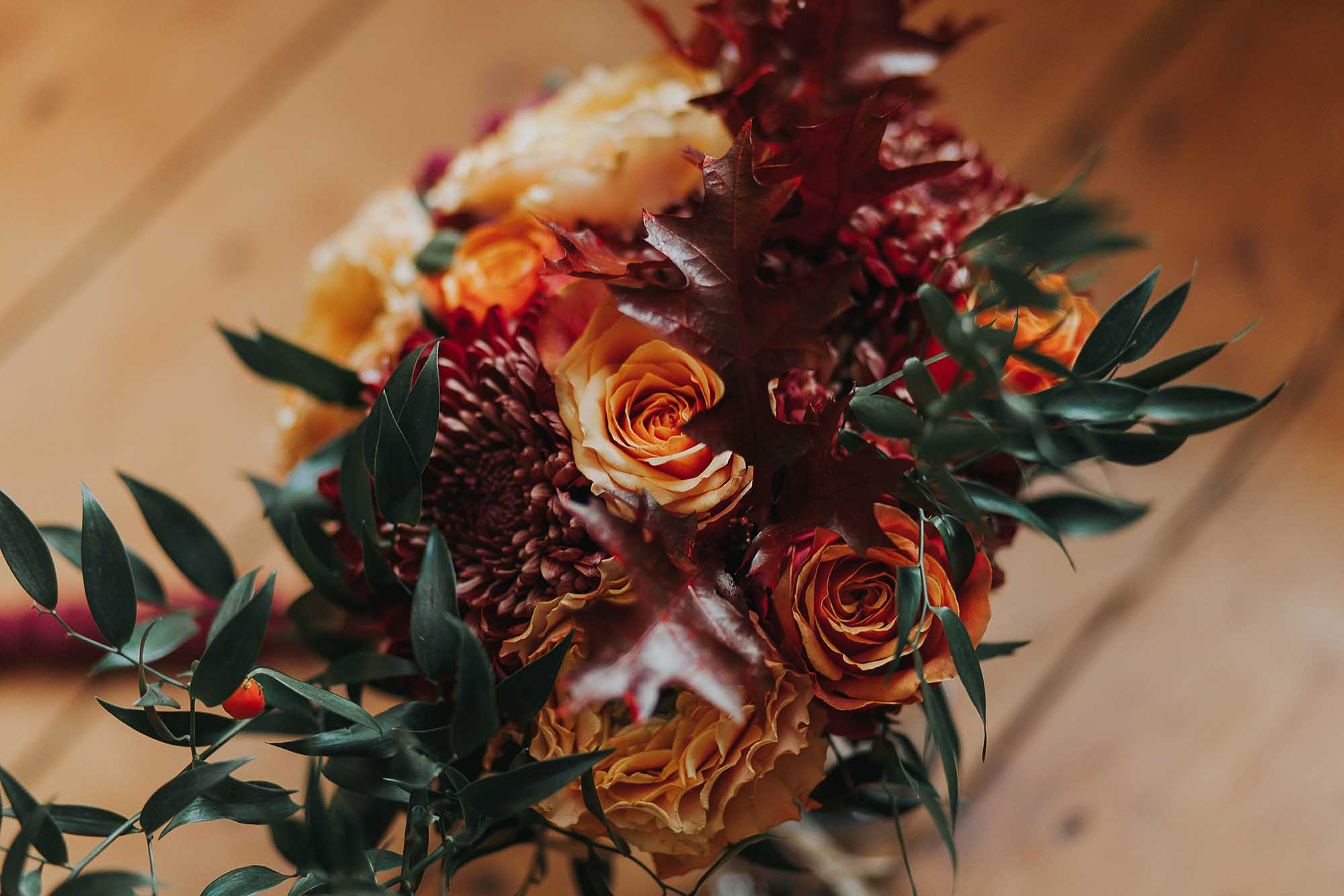 autumn flowers at West Yorkshire wedding