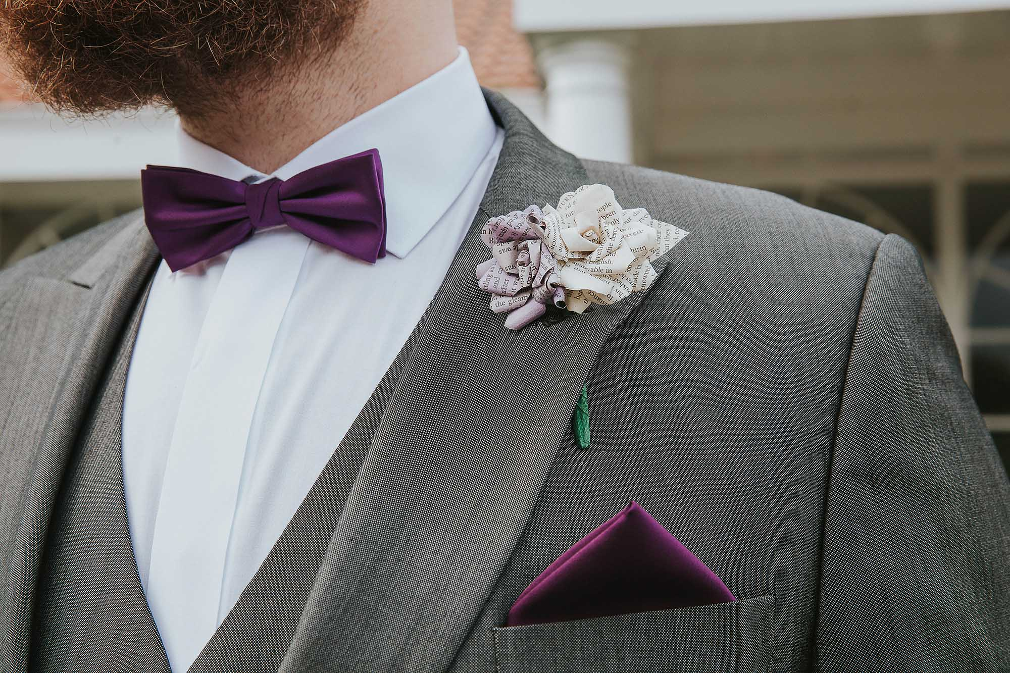 purple groom bowtie