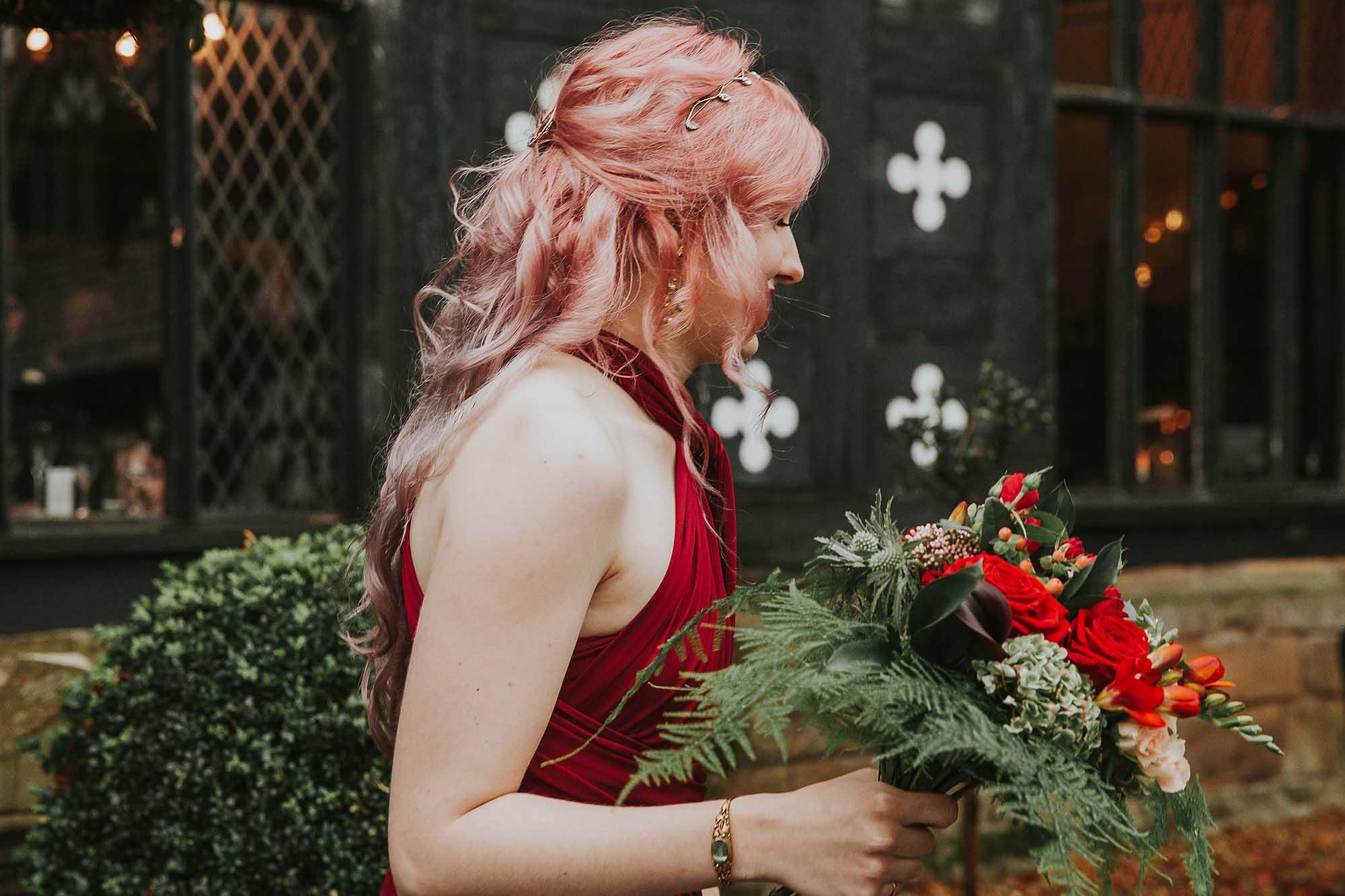 bridesmaid outside Samlesbury Hall