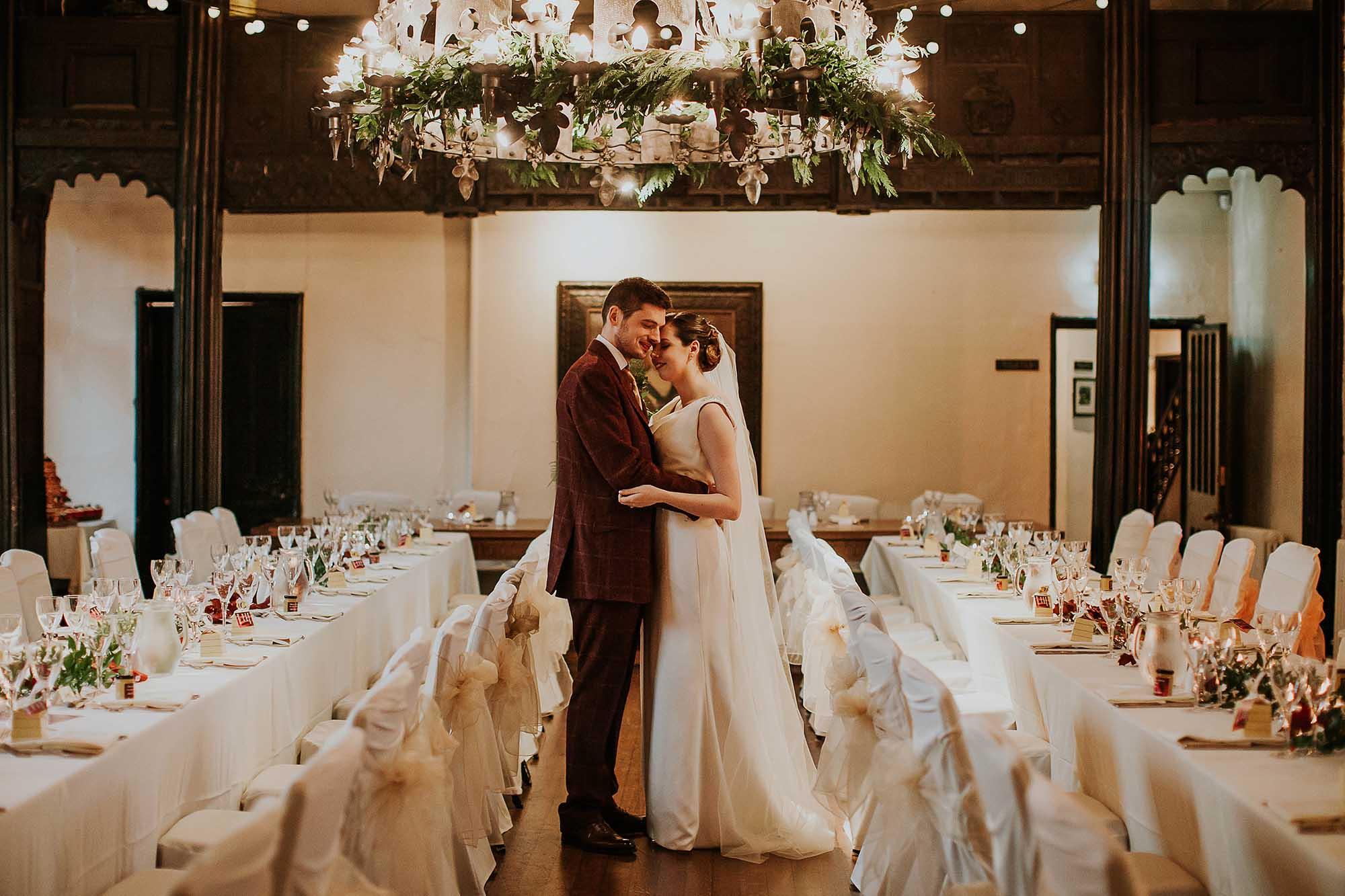 Samlesbury Hall winter wedding photography