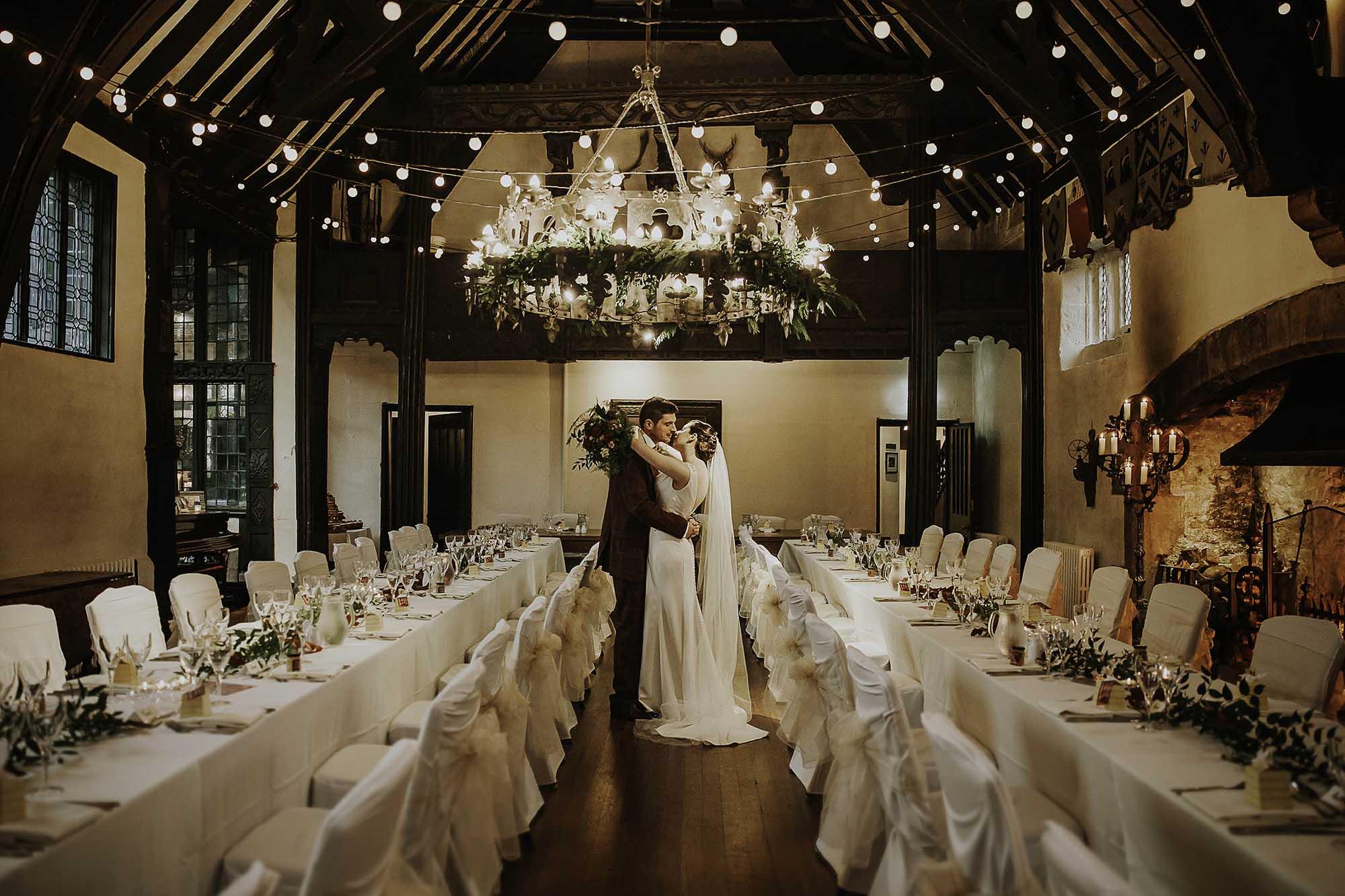 winter wedding photography Samlesbury Hall