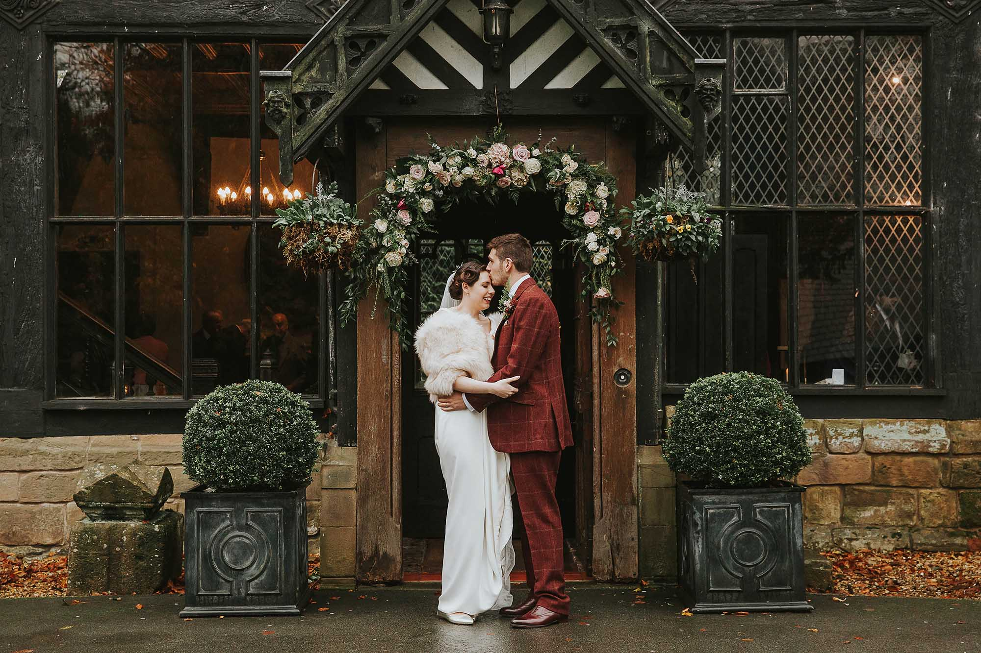 Samlesbury Hall bride and groom