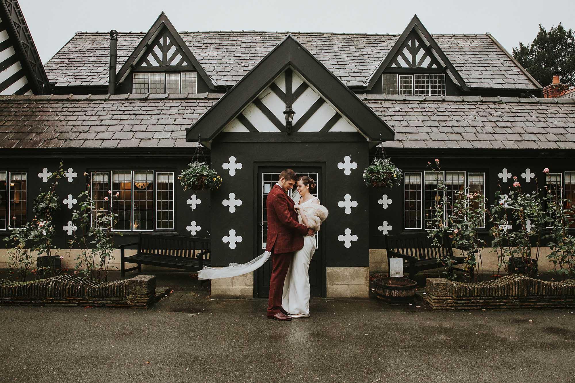 bride and groom at Samlesbury Hall