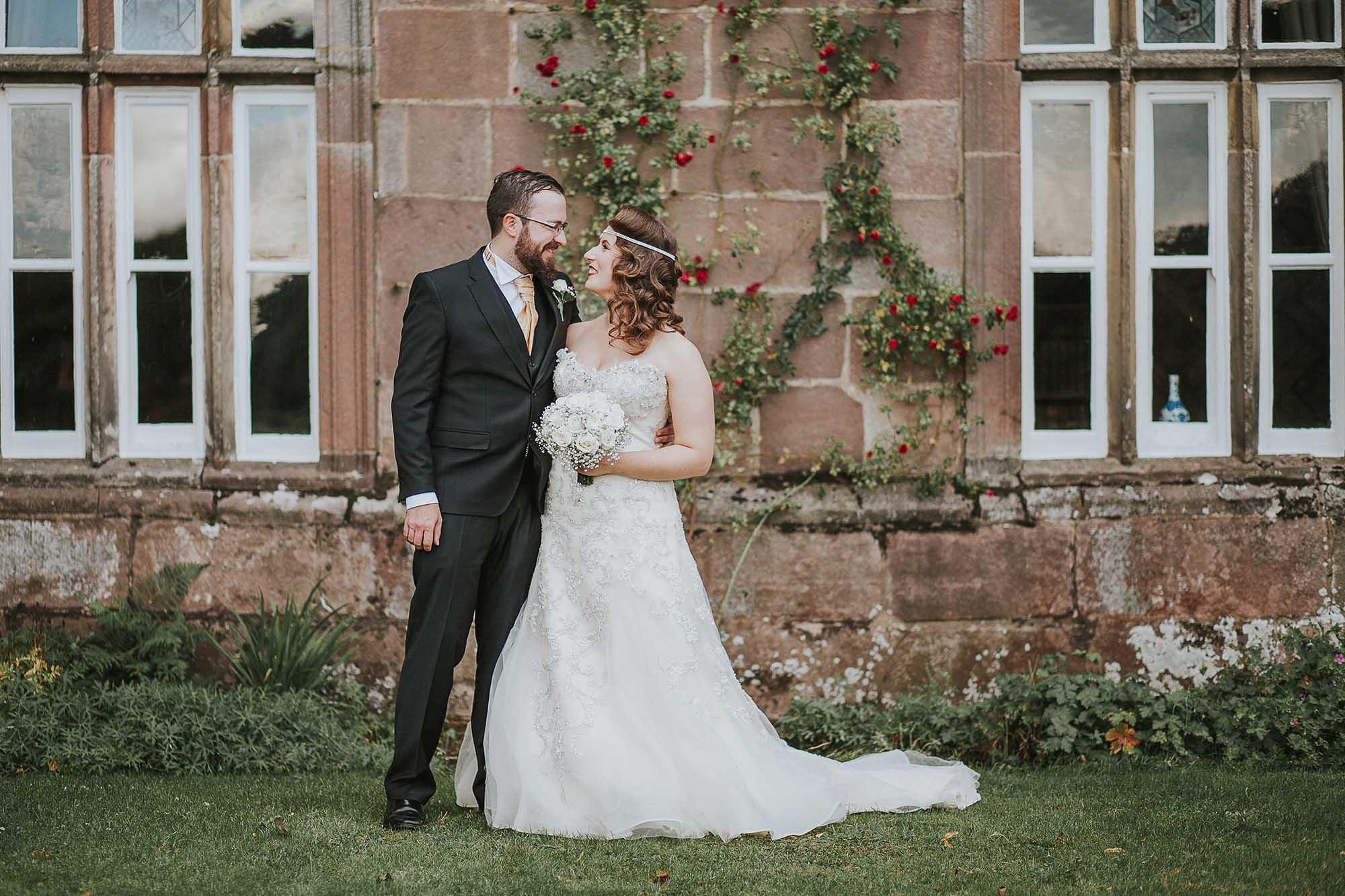 bride and groom at Browsholme Hall