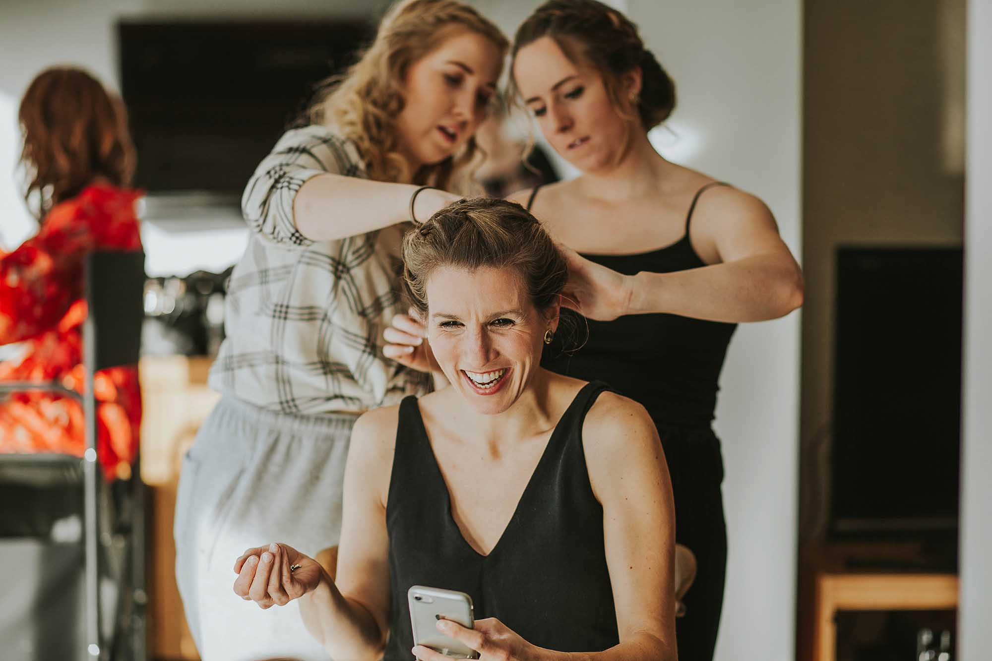bridesmaids laughing at wedding in Sheffield
