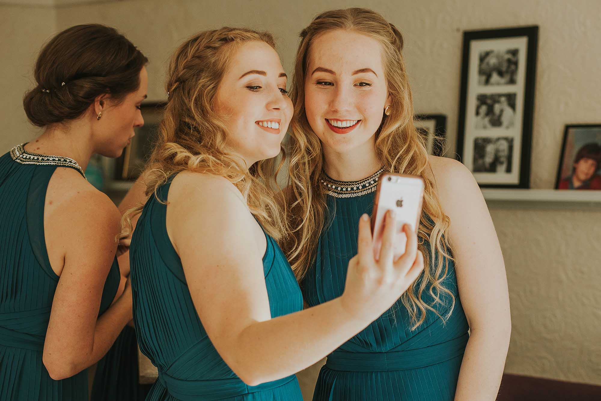 bridesmaids taking a selfie Sheffield wedding