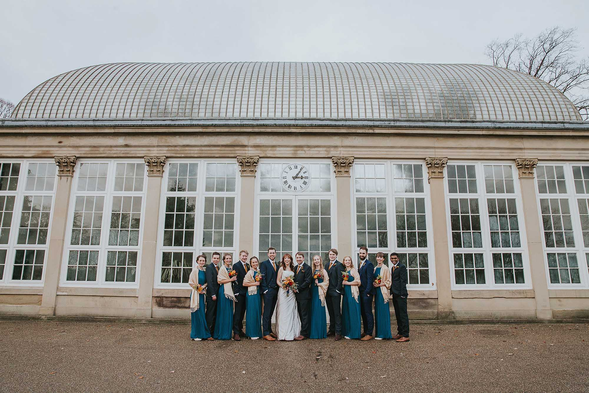 Sheffield botanical gardens wedding party