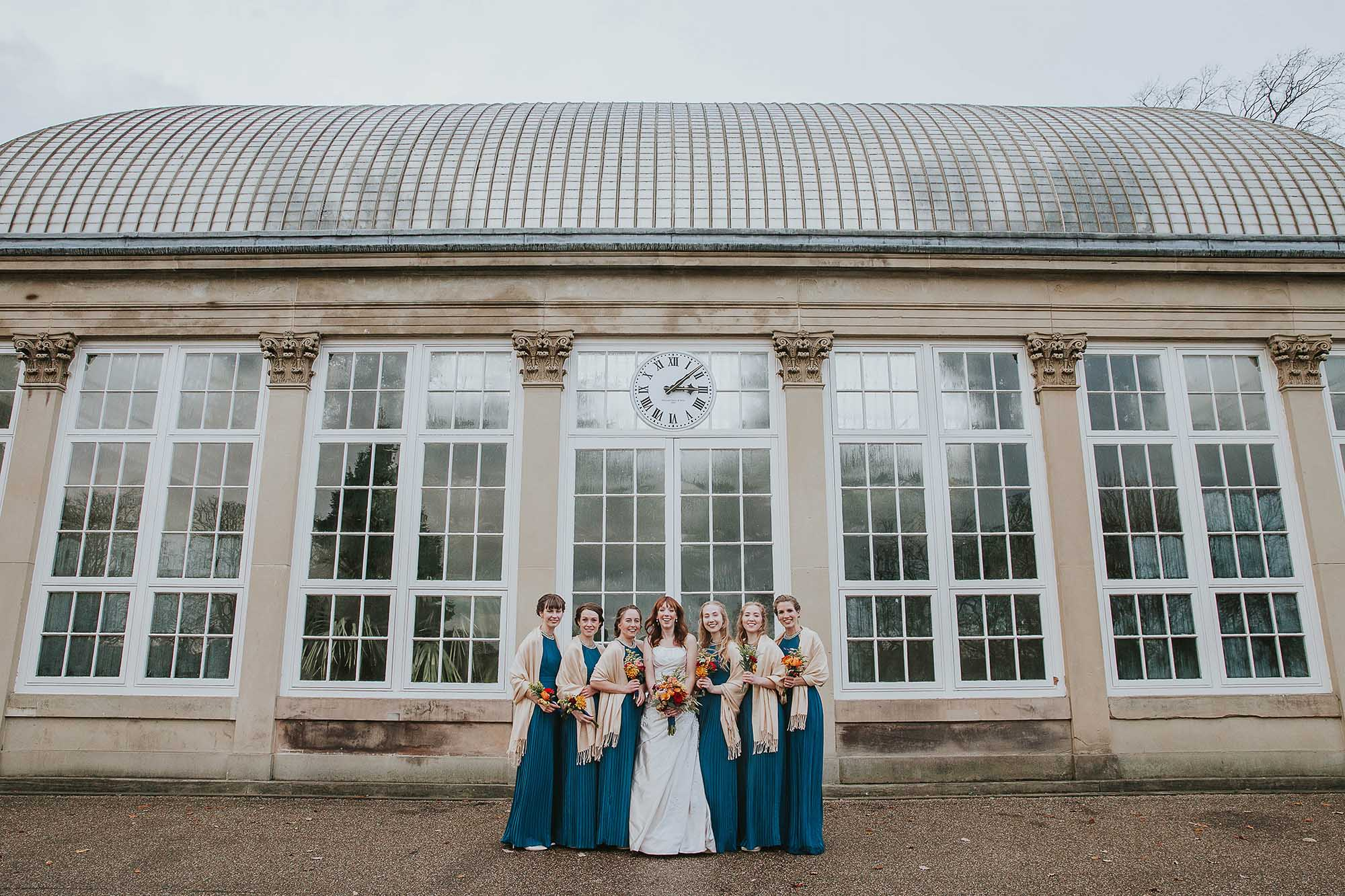 bridesmaids at Sheffield botanical gardens
