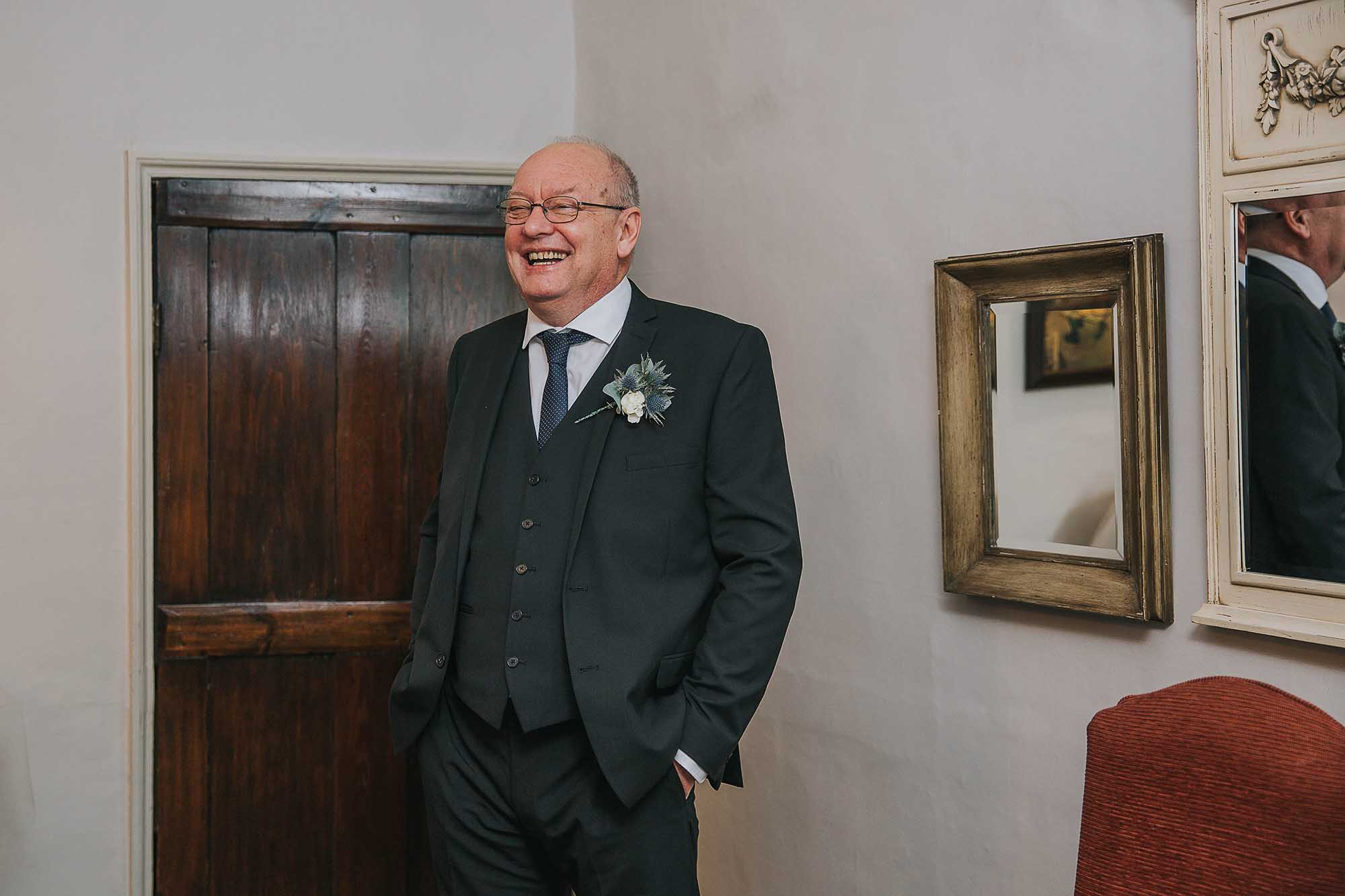 bride's father seeing his daughter at Holdsworth House