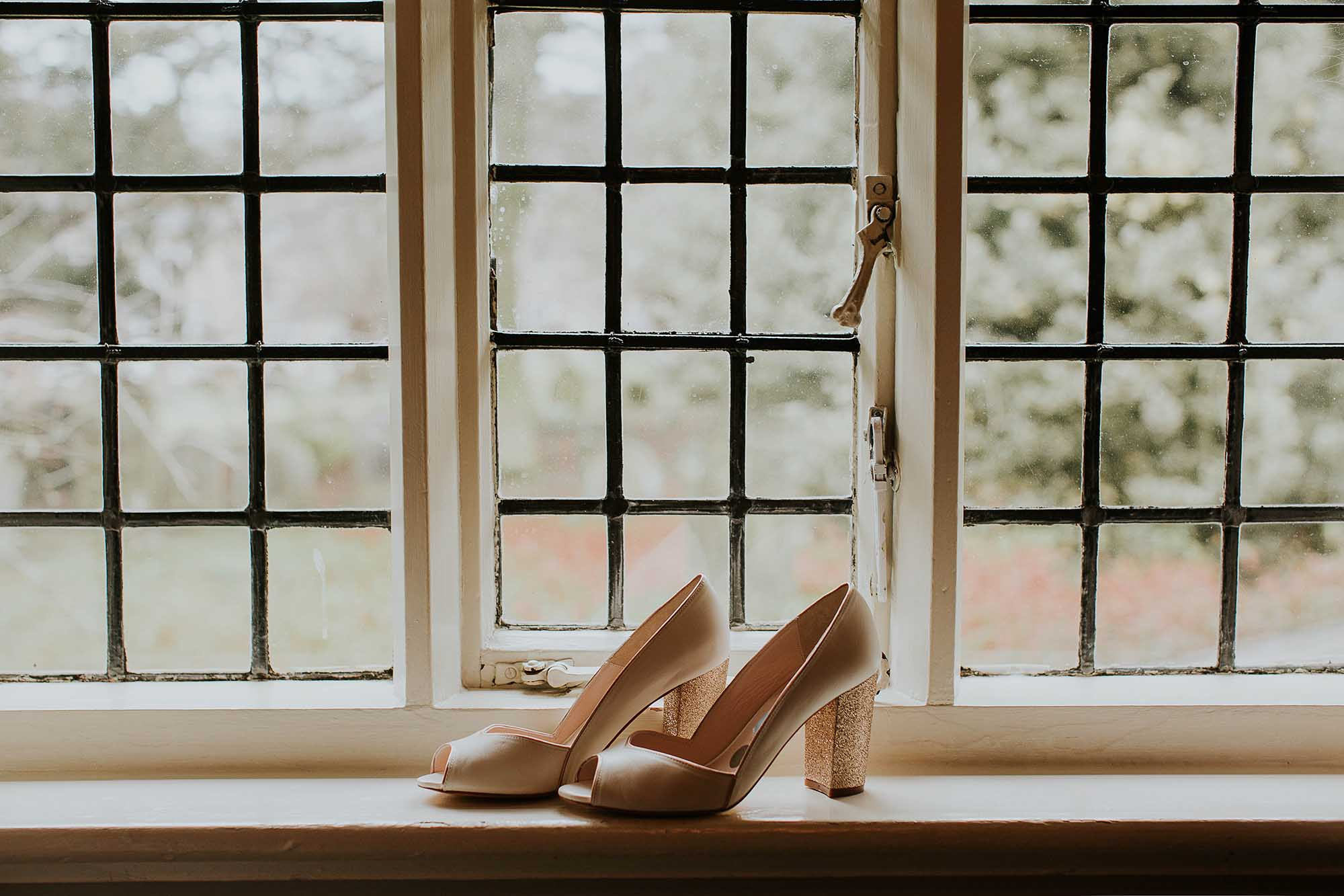 Bride's shoes at The Black Swan Helmsley