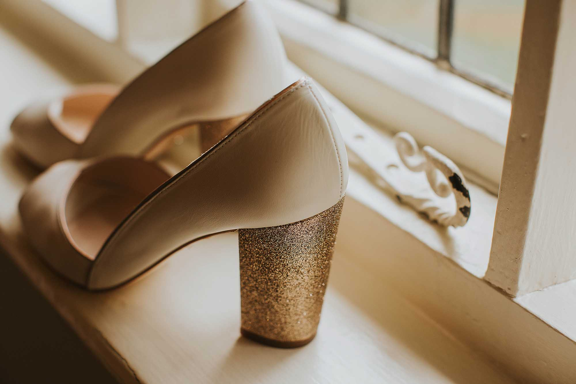 Glittery bridal shoes