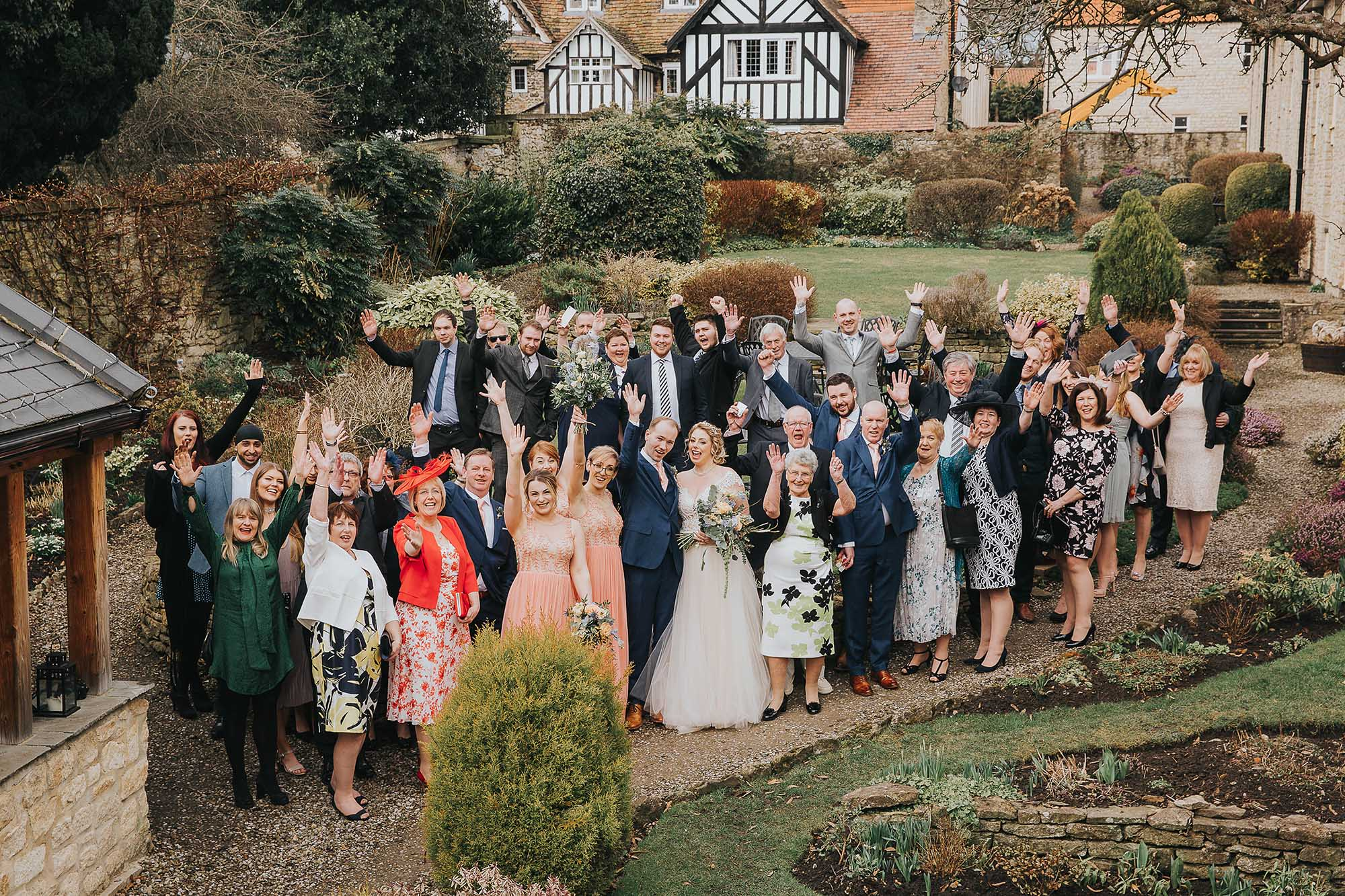 big group photography in the gardens at The Black Swan Helmsley