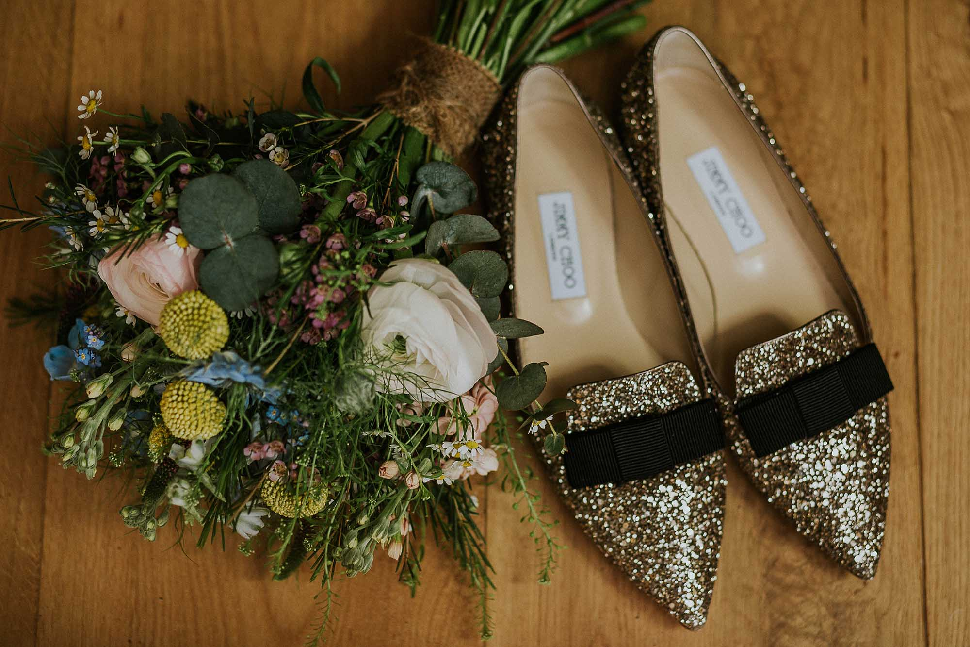 flat bridal Jimmy Choos