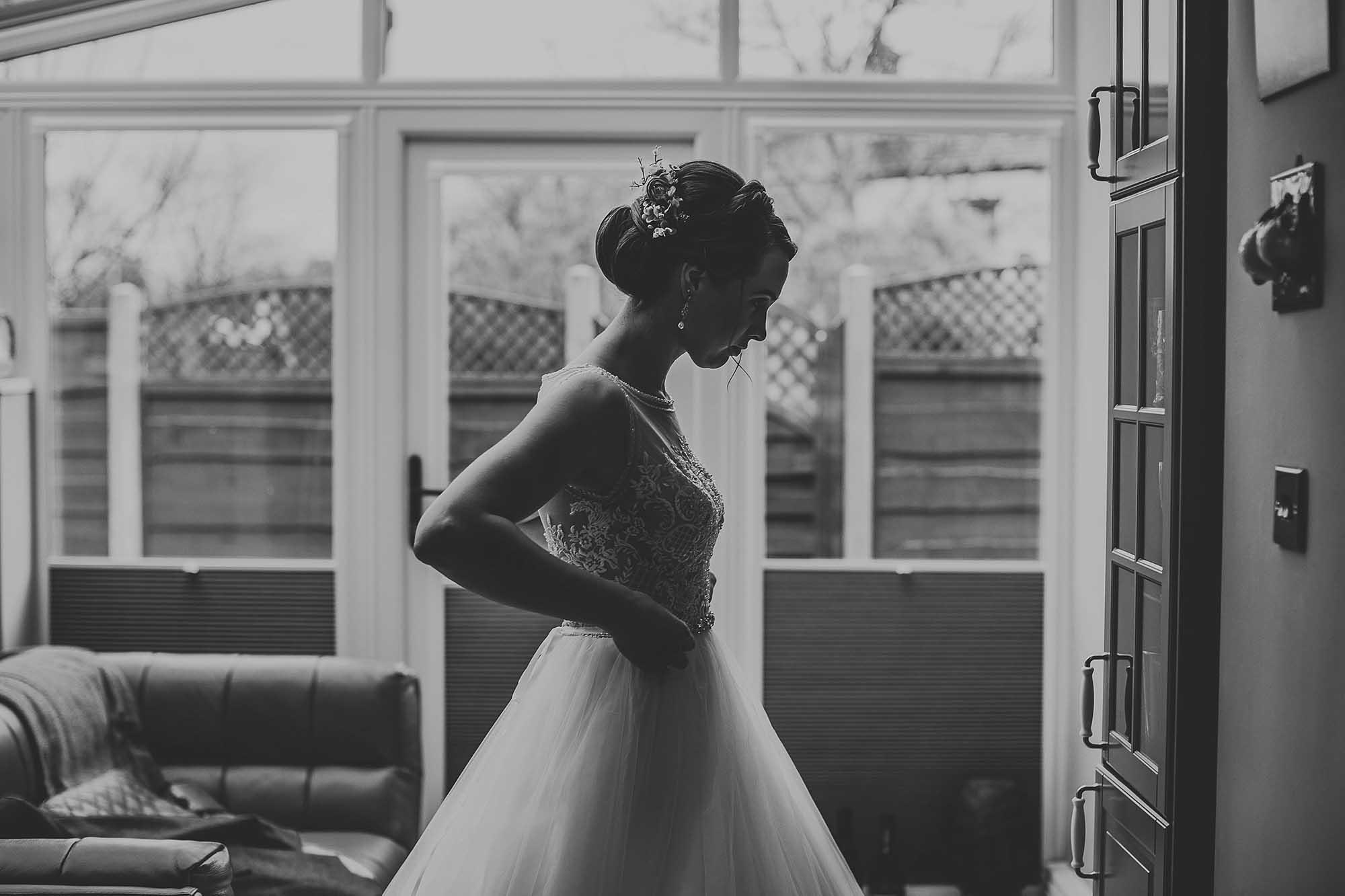 bride getting ready for wedding at Bolton School