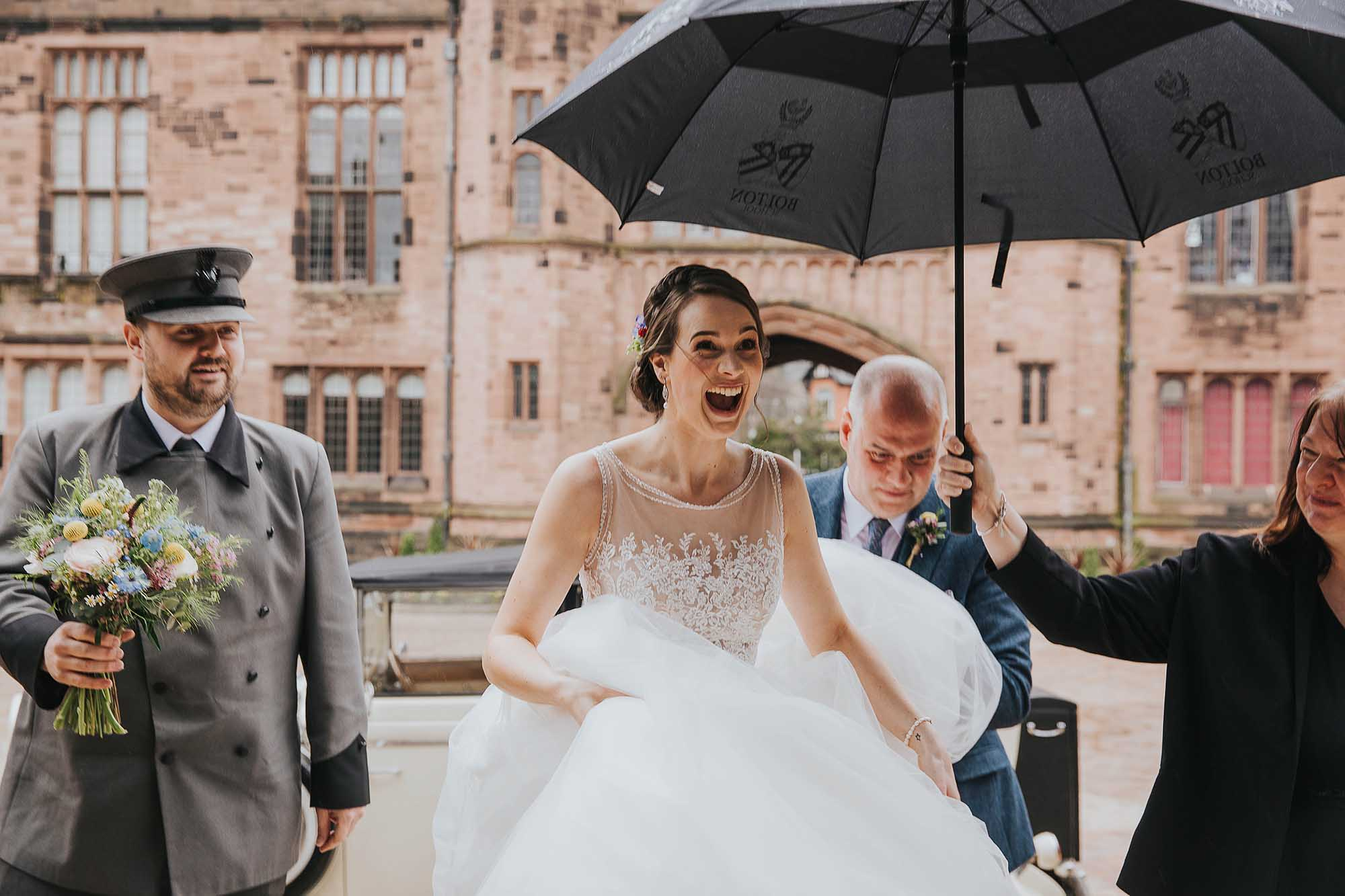 bride arriving at Bolton School