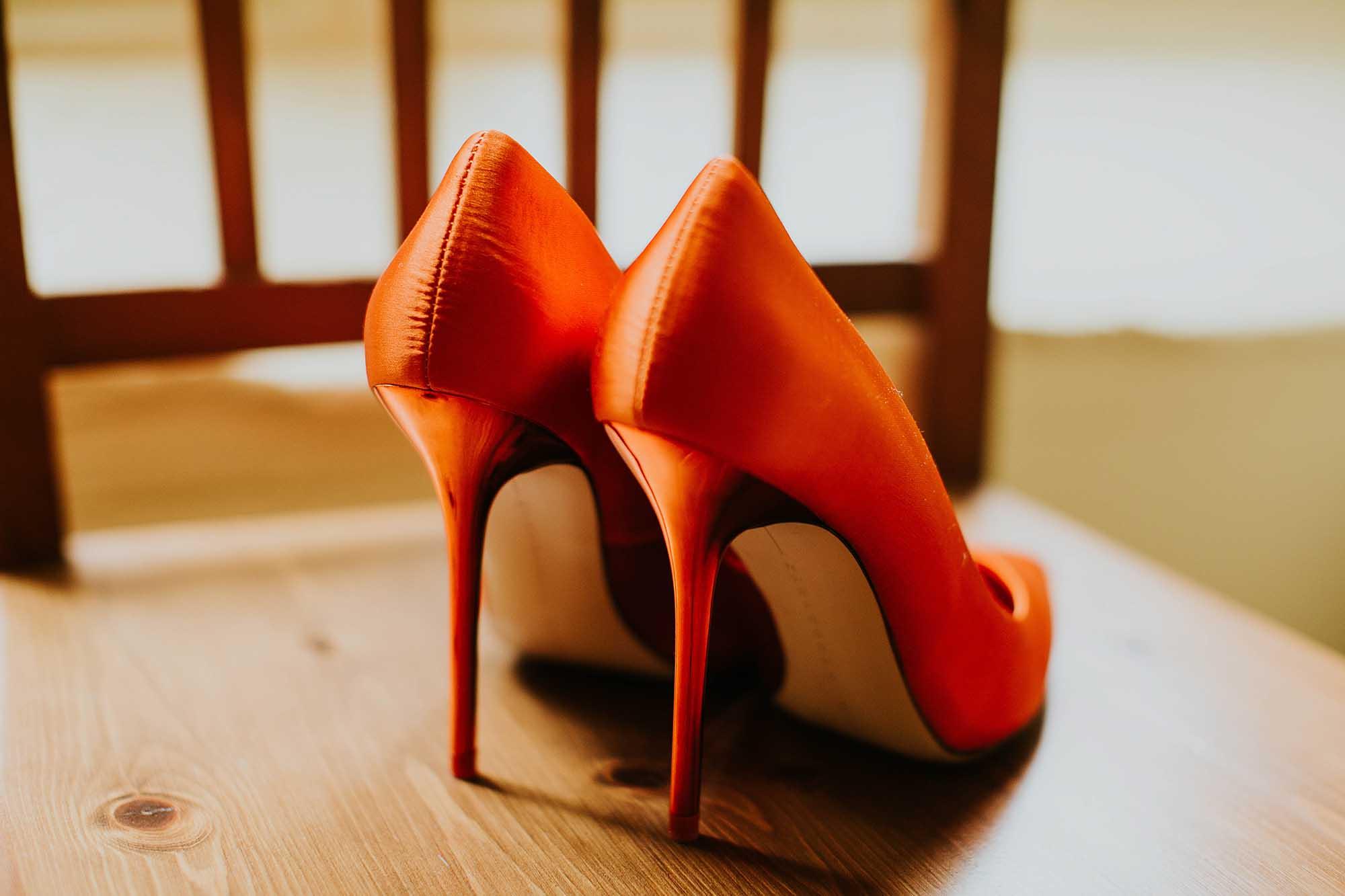 Orange bridal shoes
