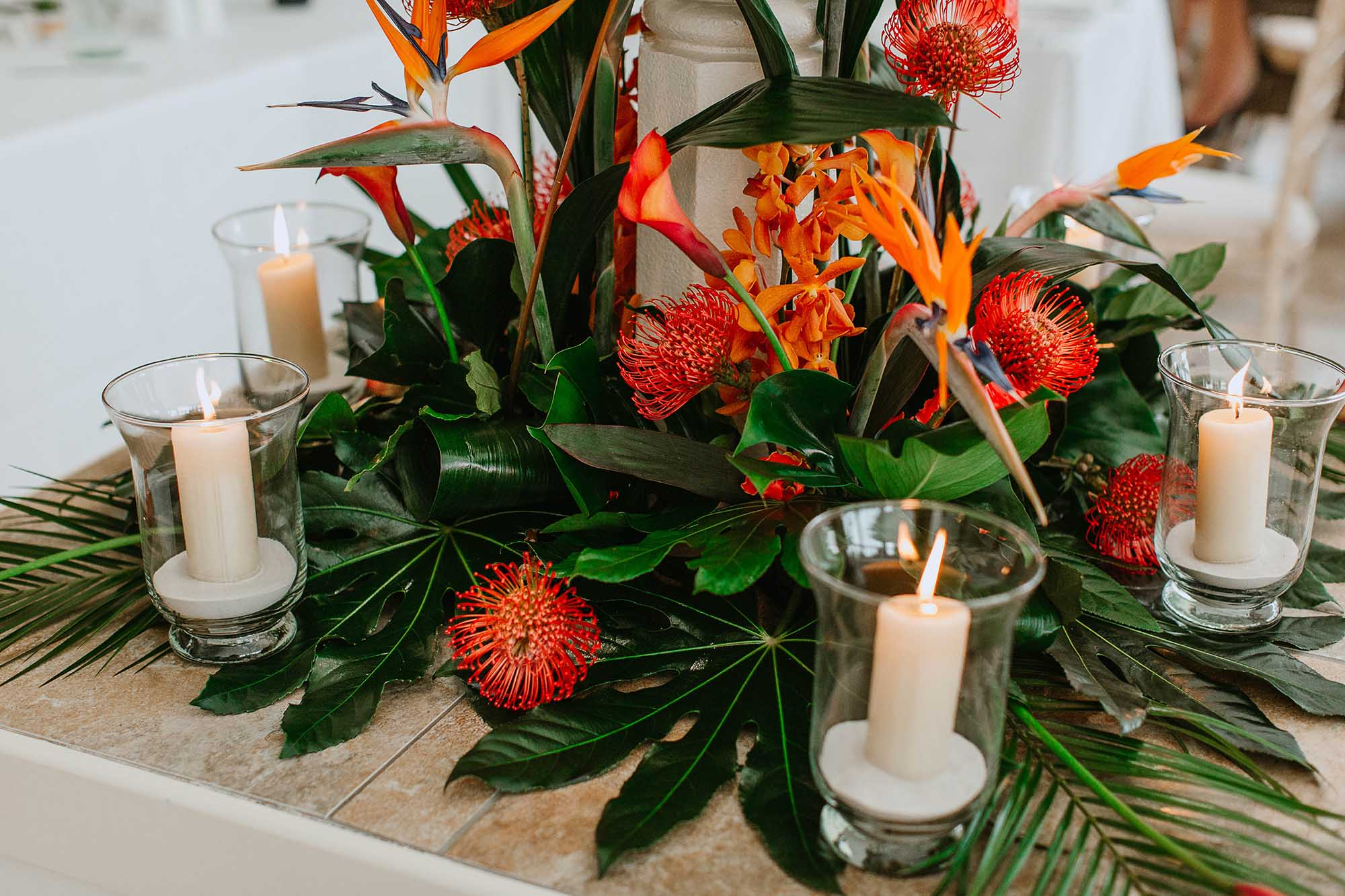 tropical floral centre piece