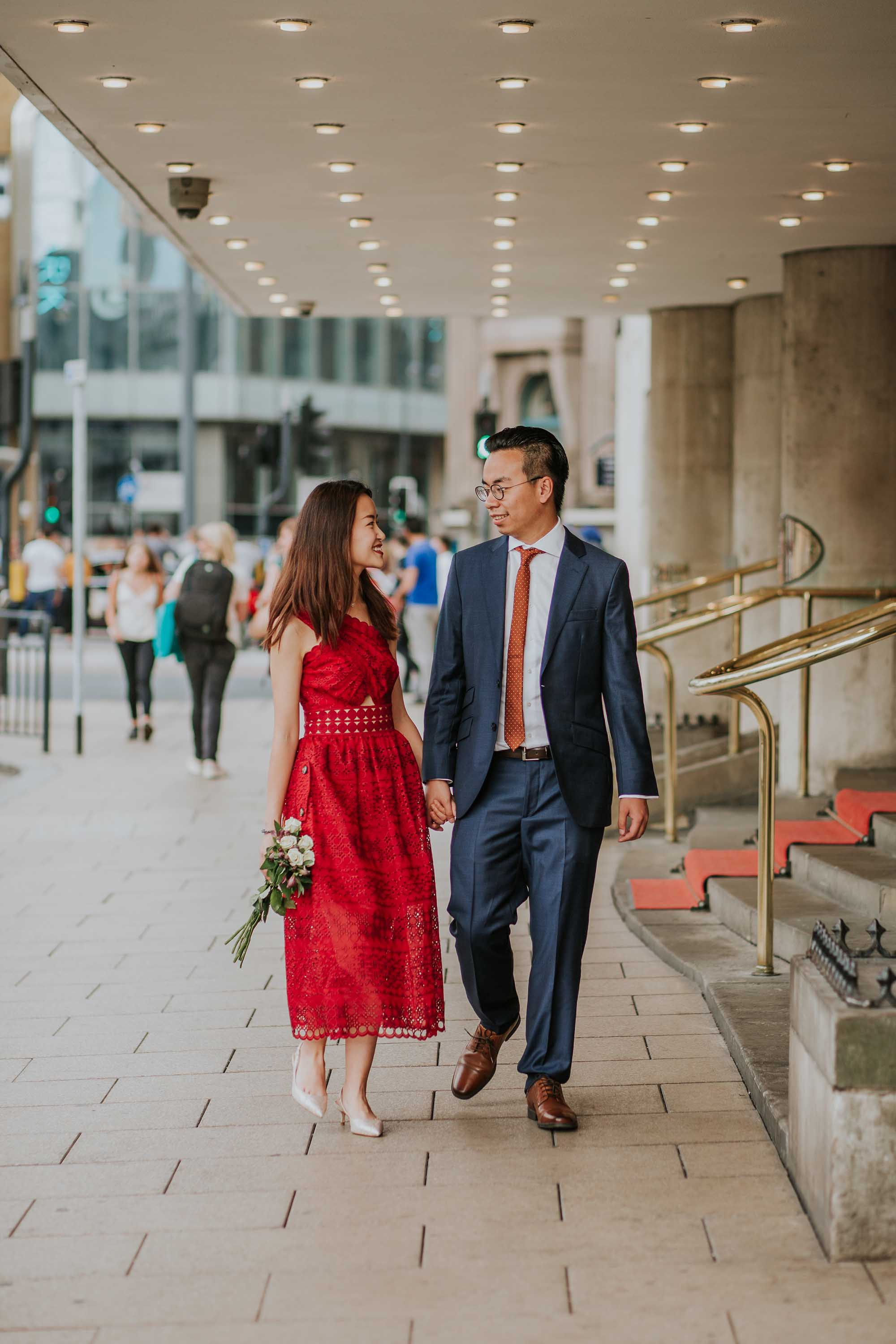 Couple walking together in Leeds