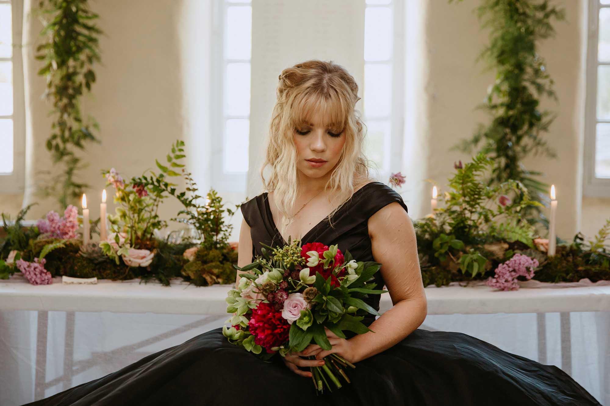 black unusual wedding dress