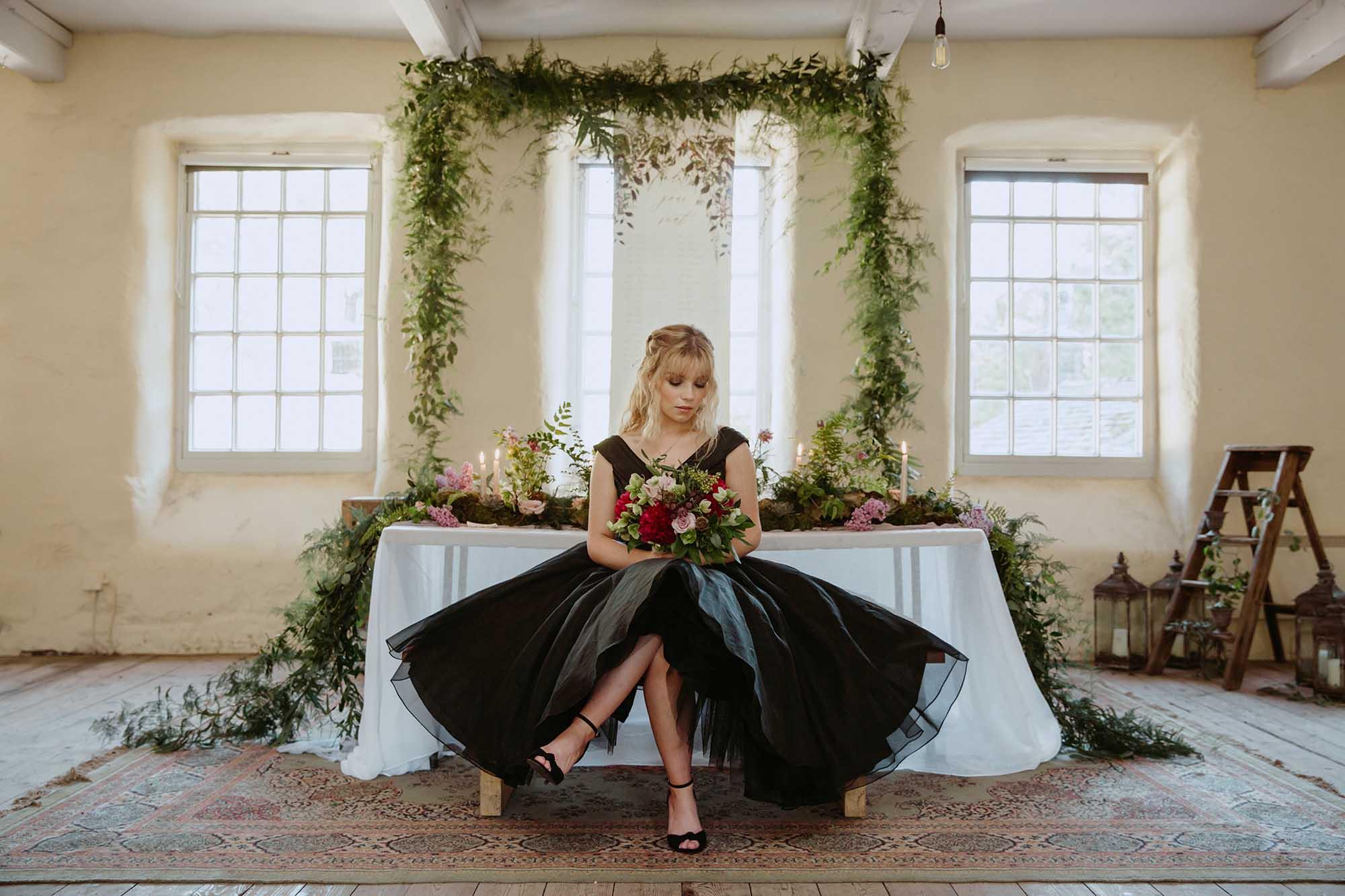 bride wearing a black wedding dress in Yorkshire