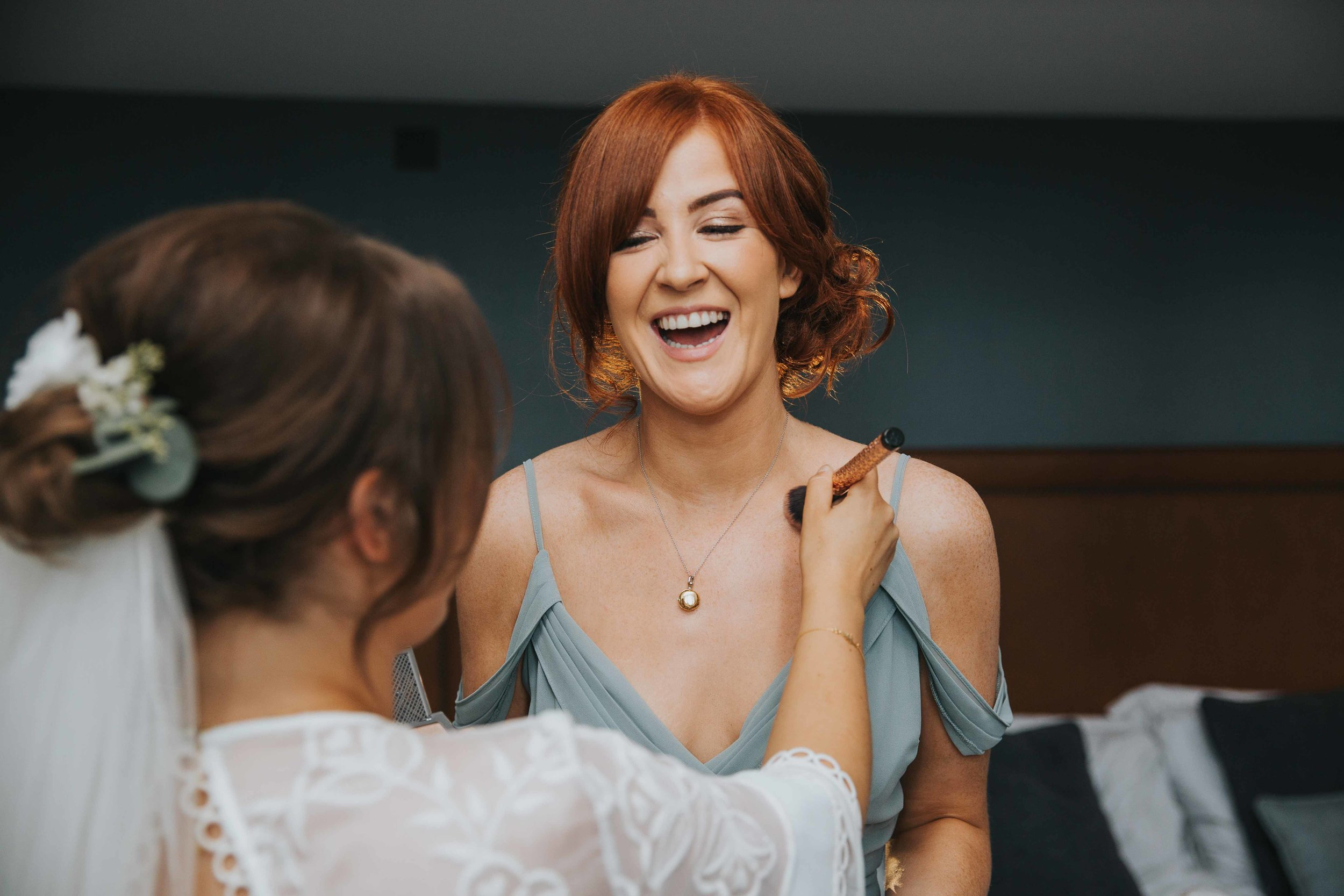 bridesmaids laughing hotel wedding venue Manchester