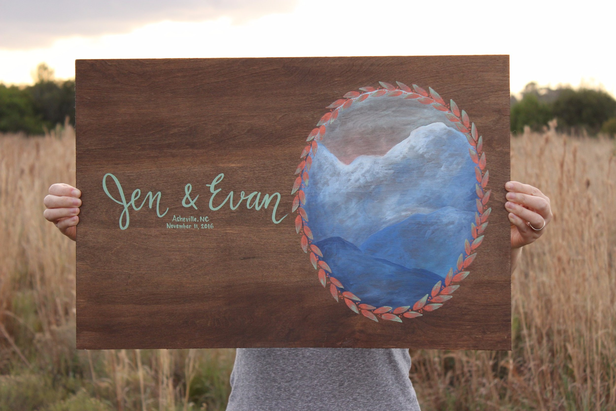 Copy of Copy of wedding guest book sign painting on wood
