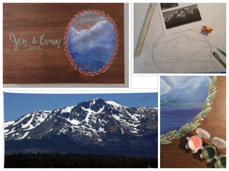 Here is the original painting available in my shop, a photo of Mt. Tallac, a sketch I provided to the couple before I started painting, and their gorgeous color palette!
