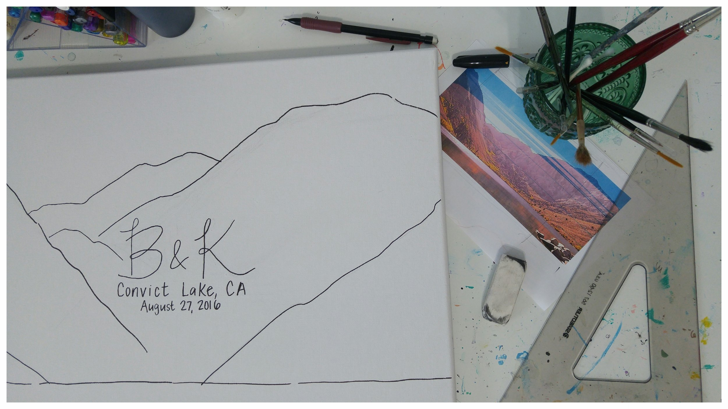 Drawing out the mountain shapes based on a photo of Convict Lake.