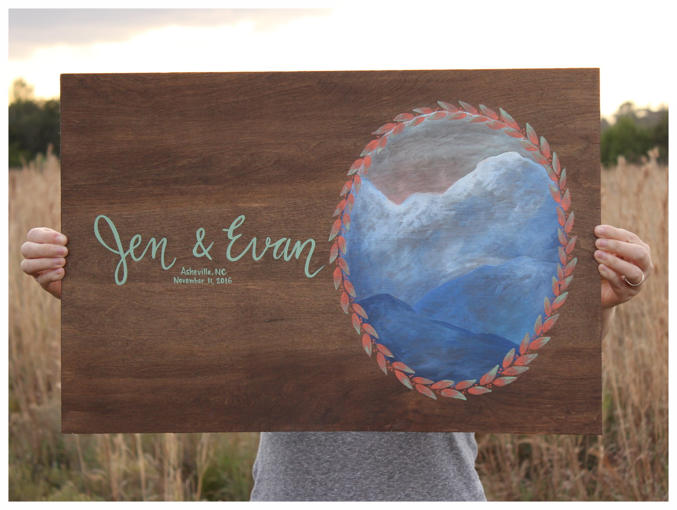 Wedding Guest Book Paintings - Instead of a traditional guest book that you'll put on a shelf and never look at again, these original, personalized paintings become meaningful heirlooms once they're signed by all your loved ones on your wedding day.