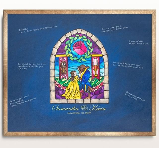 You could get a guest book that sits on a shelf that you never look at again. OR you could get one that was hand painted just for you that features your favorite movie that you'll hang on a wall and see every day :) . . . . . #beautyandthebeast #disney #disneywedding #beautyandthebeastwedding #taleasoldastime #engaged #weddingplanning #beourguest #nerdwedding #geekwedding #fandomwedding #engagedandready #meaningfulwedding #sentimental #keepsake #etsywedding #princesswedding #fairytalewedding #uniqueweddingideas #guestbook #weddingguestbook #disneyworld #disney