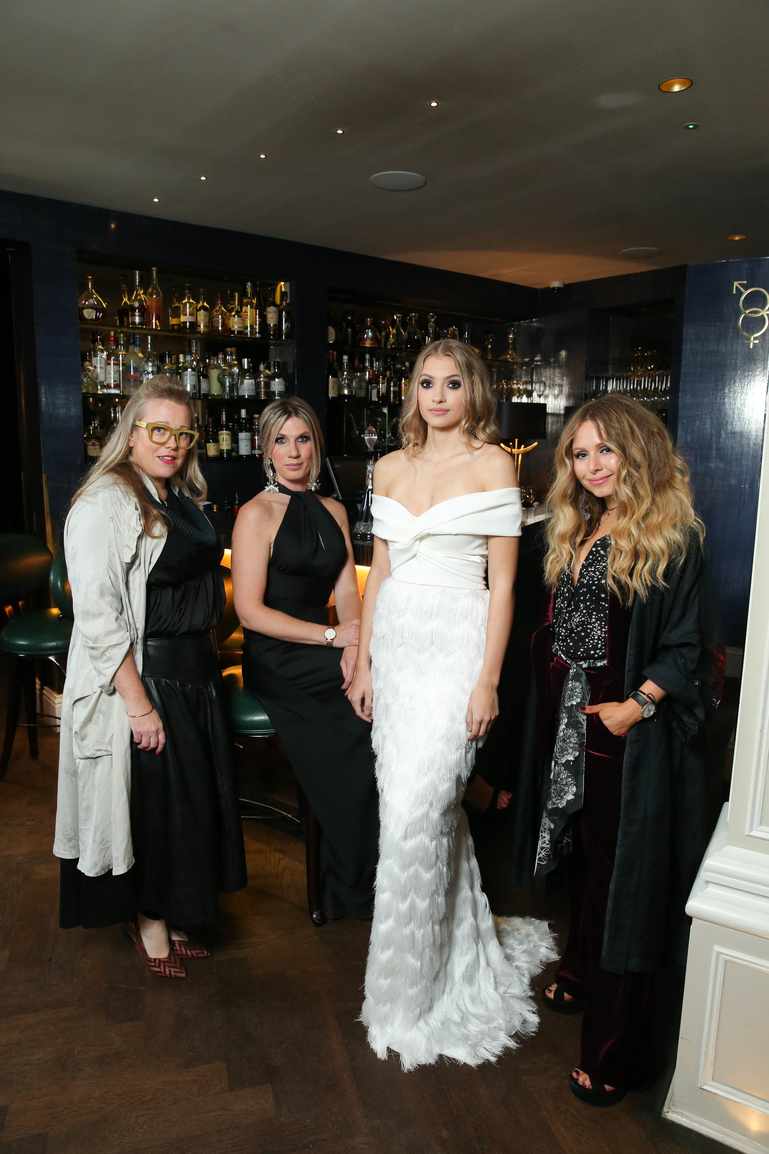 Pictured is Kate Halfpenny from Halfpenny London; model Victoria Bustard wearing Halfpenny London; Founder of The White Gallery, Rachel Morgan and Sara O'Neill, fashion designer and illustrator.